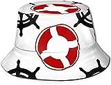 DUTRIX Sombrero de Cubo Unisex Sombrero de Pescador de Verano Cosmos Galaxy Astronaut Dab Dance Print Gorras de Cubo de Viaje-Volantes Salvavidas