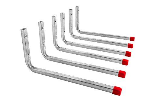 Gedotec Gerätehalter Metall Wandhaken Werkstatt Regal-Montagehaken Garage - LINE | Metall verzinkt | Länge 350 mm | Geräte-Haken L-Form zum Schrauben | 6 Stück - Garagenhaken Set für die Wand-Montage