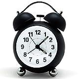 Bigmeda Réveil à Cloche Analogique, Réveil De Chevet Silencieux Quartz Réveil Matin Pas De...
