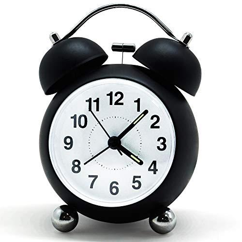 Bigmeda Despertador de Doble Campana, Reloj Despertador, Clásico Alarm Clock con Luz de Noche, 3,5 Pulgadas Dial Grande, Reloj de Cuarzo Analógico con Fuerte Alarma, Negro
