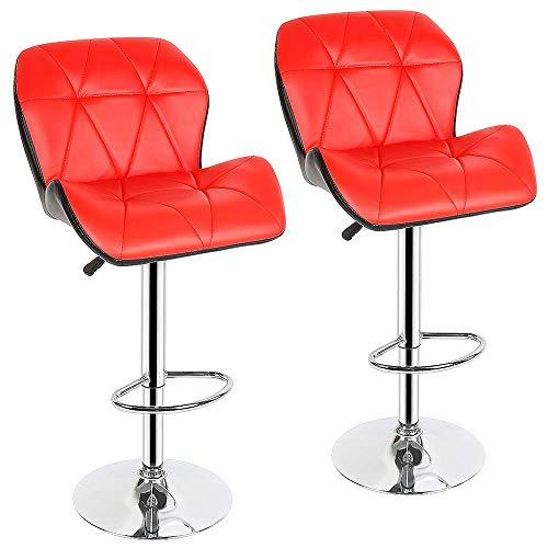 Sywlwxkq Barhocker Frühstückstheke Stühle 2pcs Moderner Barstuhl Fashion Tank Style Barhocker Küche Bar Verstellbarer Hoher Barhocker Weiches PU-Leder Für Wohnmöbel...