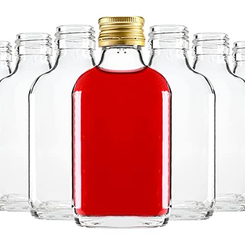 Elegante y moderno, mini botellas de licor, pequeñas botellas de cristal con tapón de rosca, botellas de bolsillo, botellas de cristal para zumos y bebidas con alto porcentaje