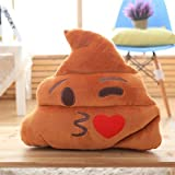 ML Cojines Emoticono Cojín Almohada Redonda Emoticon Peluche Bordado con giño 35x33x10cm Marron