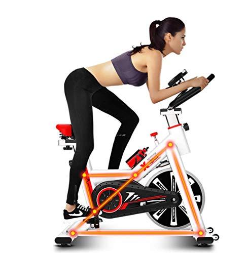 MUZILIZIYU Bicicleta de Ejercicio Interior silencioso silencioso Volante cómodo con Marco de Acero Inoxidable y Carga Ajustable 250 kg Usados para ejercitar piernas, Caderas (Color : White)
