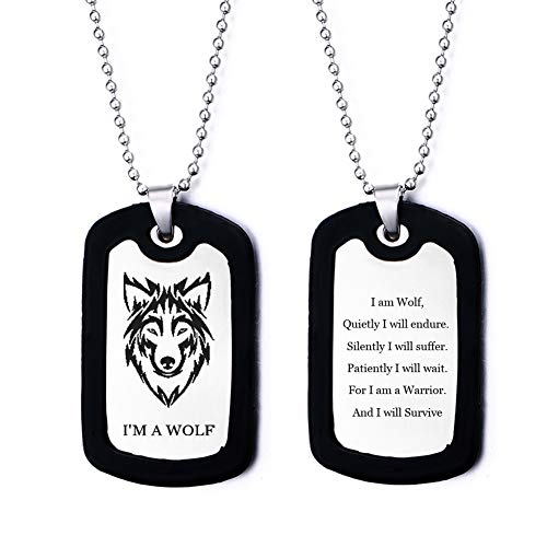 LiFashion Mens Wolf Dog Tag with Silencer,Stainless Steel Inspirational Sentimental Quote Engraved I am a Wolf Necklace Wolf Fans Gift Pendant Jewelry for Boyfriend Son Dad