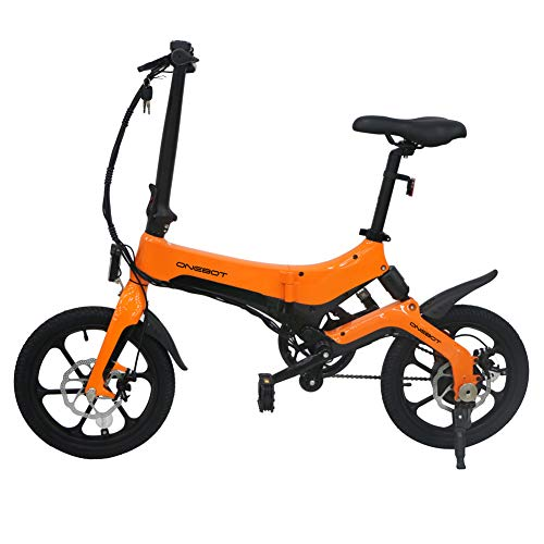Dušial Electric Bike Folding 16 inch Wheels Ebike Bicycle Adjustable Portable Shock Absorption Mechanism Electric and Manpower Modes Suitable for Commuting Shopping Cycling Outdoor, Max Load 120 kg