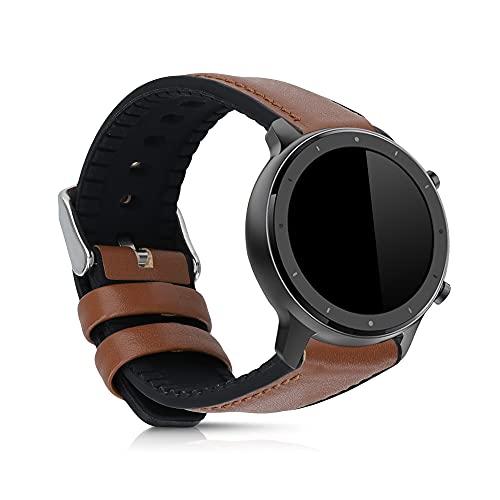fitness tracker braccialetto ricambio kwmobile Cinturino Compatibile con Huami Amazfit GTR (47mm) / GTR 2 - Braccialetto Sostitutivo Interno Silicone TPU Esterno Similpelle - Senza Fitness Tracker