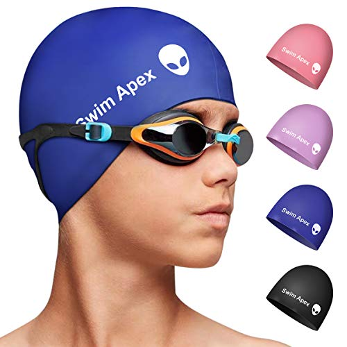 Swim Apex Silicone Kids Swim Cap for Girls Boys Teens (Age 2-12), Durable Silicone Swimming Cap for Kids Youths Boys Girls, Baby Waterproof Caps for Long Hair and Short Hair with Alien Print (Blue)