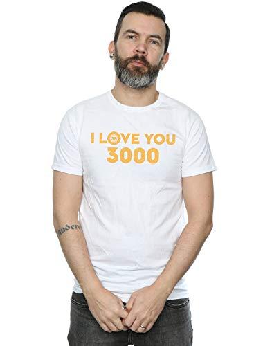 Marvel Hombre Avengers Endgame I Love You 3000 ARC Reactor Camiseta Blanco XXXXX-Larg