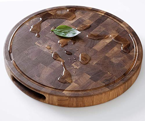 Daddy Chef Round End Grain Wood cutting board with Juice Drip Groove - Chopping block - Large cutting board R20x1.5 Kitchen butcher block cutting board with feet - Kitchen Wooden chopping board (DTK)