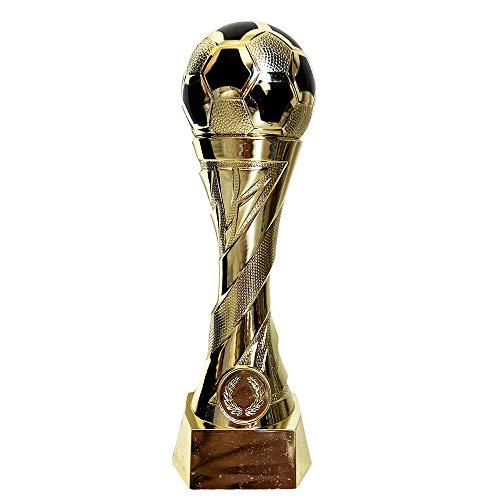 Larius Group Fußball Pokal mit Wunschgravur Extra Groß (250mm, 460gr.) - Trophäe Ehrenpreis Goldener Schuh Ball - Torschützenkönig (ohne Wunschtext)