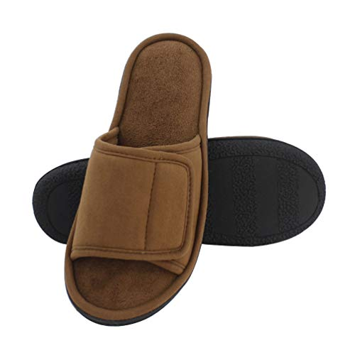 Magtoe Men Washable Micro Suede Adjustable Memory Foam Home Open Toe Indoor Slippers (13-14 B(M) US/X-Large, Brown)