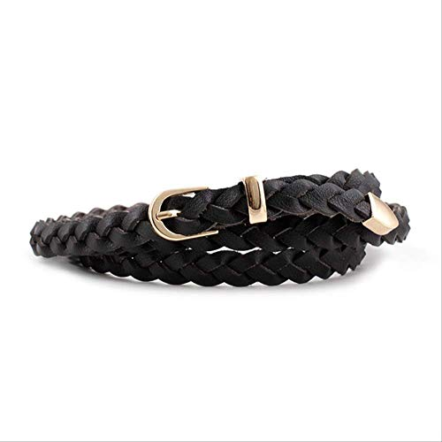 PXNH Damen Pu Leder geflochtener Kleid Gürtel Mode Bund 1,2 cm dünner Gürtel Golden Pin Schnallengürtel 110 cm schwarz