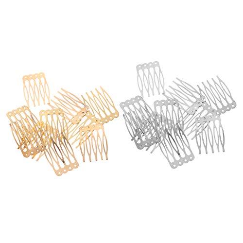 F Fityle 20pcs Clips de Peines Laterales de Pelo de 5 de Metal Dorado Plateado Antiguo