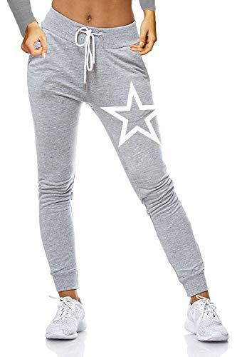 ZAHIDA Damen Hose Jogginghose Trainingshose Schlafanzug Joggen Sweatpants Stern 005 (Grau, XXXXL (50))