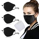 3 pezzi unisex tessuto Mouthguards Nero 6 filtri lavabili riutilizzabili per donne e uomini