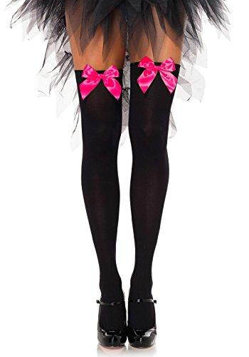 LEG AVENUE 6255 - Blickdichte Nylon Overknee Mit Satin Schleife, Einheitsgröße (EUR 36-40), schwarz/neon pink, Damen Karneval Kostüm...