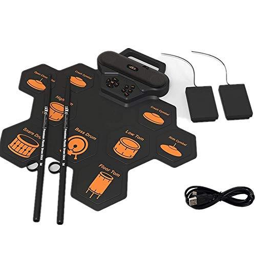 9 Pad Set de batería electrónica, tapete de batería eléctrica, 2 Pedales,...