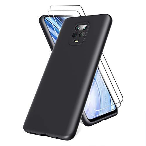 All Do Oududianzi Funda para Xiaomi Redmi Note 9 Pro/Note 9S, Protector Pantalla Cristal Templado, Carcasa de Silicona Líquida Gel Ultra Suave Funda con tapete de Microfibra Anti-Rasguño - Negro