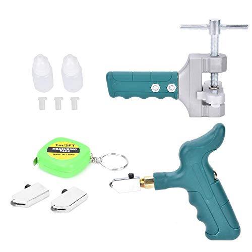 Kit de herramientas para cortar vidrio, herramienta manual para cortar azulejos, fácil deslizamiento con separador de vidrio de agarre manual (2 cuchillas y cinta métrica de 1 m) para espejo de vidrio