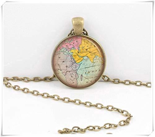 Halskette mit Anhänger Karte im Mittleren Osten, Indischer Ozean, Landkarte/Geographie / Geschenk für Reisende/Reisekarte, ein schönes Geschenk.