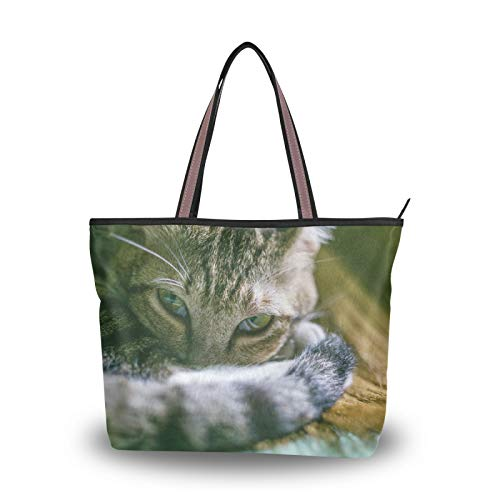 Purse Shopping Animal Cat Light Weight Strap Tote Bag Shoulder Bags for Women Girls Ladies Student Handbags