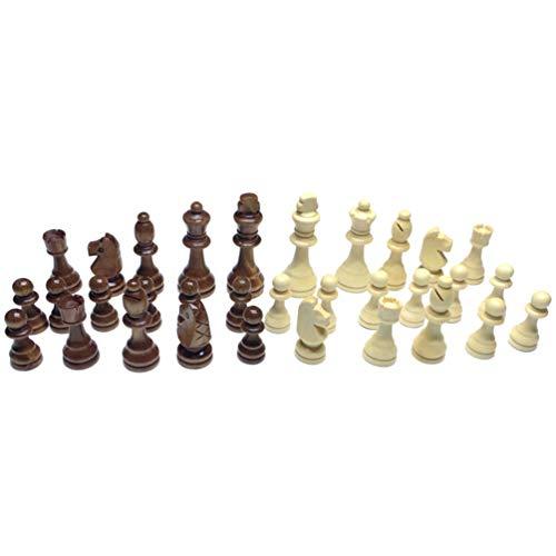 NUOBESTY Piezas de Ajedrez Internacionales Figura Peones de Ajedrez de Madera Accesorios de Reemplazo de Tablero de Ajedrez 32 Piezas (2 5 Pulgadas)