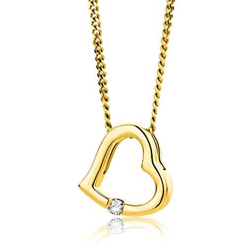Orovi Collana - Pendente - Ciondolo Donna Cuore con Catena in Oro Giallo con Diamante Taglio Brillante Oro 18 kt /750 Catenina Cm 45