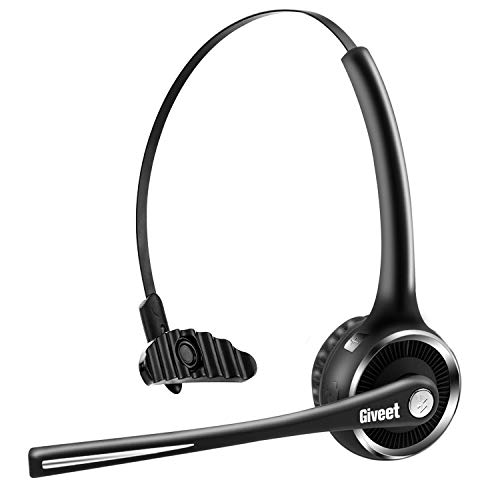 Giveet Trucker Bluetooth Headset, Wireless Headset for Office Phone, with Noise Cancelling Microphone, Mute Button, 15h Talking Time for Cell Phone, Telephone, Skype, Call Center, PC