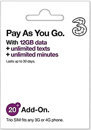 (Unlimited) Three Mobile Sim Card 12GB of High-Speed Data (Then Unlimited Normal Data) + Unlimited Calls & Texts for 30-Days Free-Roaming - 71 Destinations Including All European Countries AIO20 3Sim