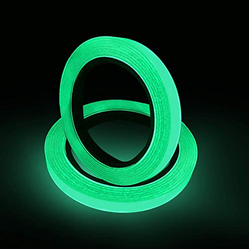 2 Stück Fluoreszierendes Klebeband 10m X 10mm Leuchtendes Band Selbstklebendem Band Warnband Luminous Tape Nachtleuchtend Wasserdicht Abnehmbar Tragbar Sicherheit