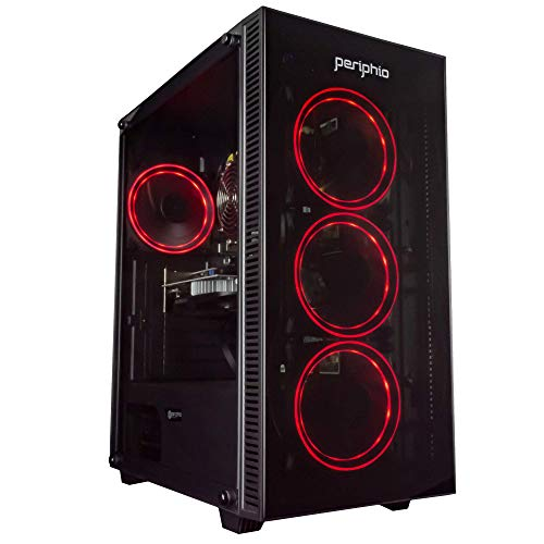Periphio Red Gaming PC Tower Desktop Computer, Intel Quad Core i7 3.3GHz, 16GB RAM, 512GB SSD + 1TB 7200 RPM...