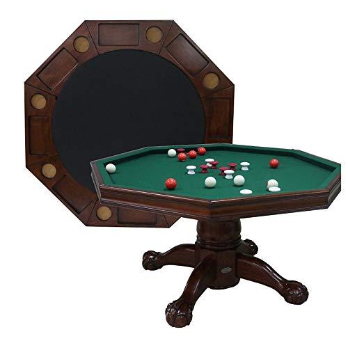 Berner Billiards 3 in 1 Table - Octagon 54' Bumper Pool, Poker & Dining in Antique Walnut