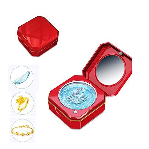 MLSJM 45Ml Mini-Schmuck-Reiniger Tragbares Reinigungsgerät Für Kontaktlinsen-Ring-Halsketten-Armband-Münze, Anzug Zu Hause Und Unterwegs, USB-Gebühr, Rot