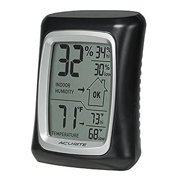 AcuRite 00325 Indoor Thermometer & Hygrometer with Humidity Gauge Black 0.3