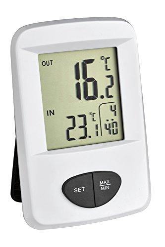 TFA Dostmann Base Funk-Thermometer, Außentemperatur, Innentemperatur, Höchst-und Tiefstwerte, Uhrzeit