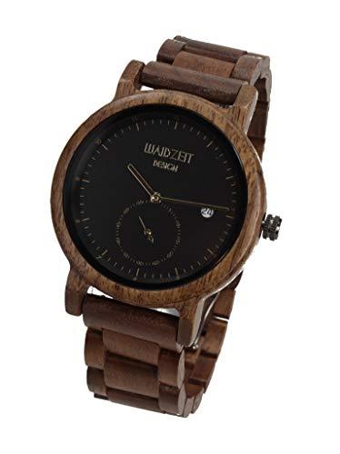 Waidzeit XS01 Maximilian schwarz Uhr Herrenuhr Holz Analog Datum Braun