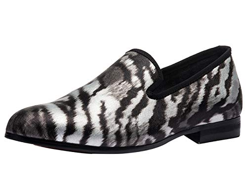 Mocasines para Hombres Clsico Terciopelo, Slip-on Barco Conducir Zapatos Planos Disfraz Cebra Zapatillas Negro 46 EU