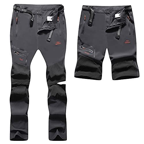BenBoy Pantalones Trekking Trabajo Hombre Impermeables Convertible Pantalones Cortos Montaña Escalada Senderismo Transpirable Ligero Secado Rápido Pantalon Aire Libre KZ2346M-Grey-XL