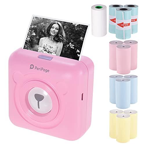 Bisofice PeriPage A6, Mini stampante termica tascabile per etichette per immagini BT senza fili Stampante+ 9 rotoli di carta termica...