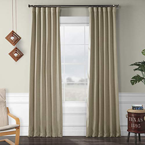 HPD Half Price Drapes BOCH-LN18542-96 Faux Linen Blackout Room Darkening Curtain (1 Panel), 50 X 96, Thatched Tan