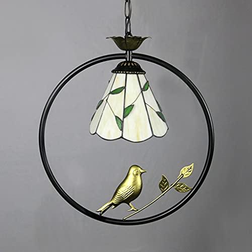 FVDS Estilo Chino lámpara de Vintage Tiffany Colgante lámpara única Cabeza de Cabeza Ajustable iluminación Industrial pájaro pájaro Colgante luz Vidrio Colgante Colgante Accesorio