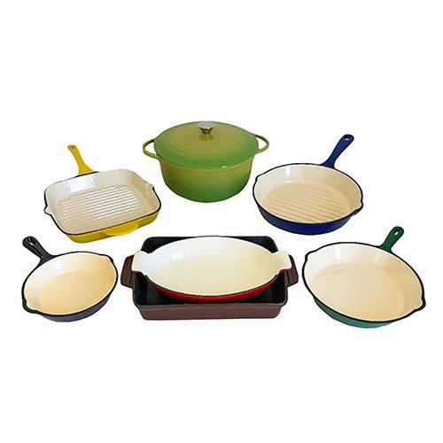 Le Chef 8-Piece All Cast Iron Enamel Cookware Set. (Multi-Colored, G2T2)