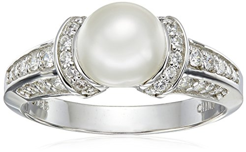 Amazon Collection Platinum Plated Sterling Silver Cubic Zirconia Freshwater Cultured Pearl Ring, Size 8