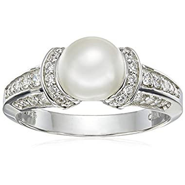 Amazon Collection Platinum Plated Sterling Cultured Pearl Ring