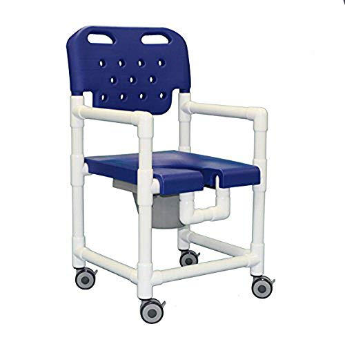 IPU ELT817 P Platinum Line Rolling Shower Chair Commode for use Over Toilet and in The Shower (Blue)
