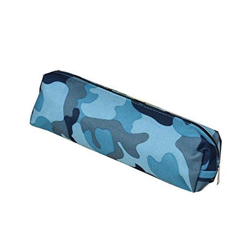 Ouneed® Camoufalge Canvas Trousse Zippe Pochette Ecolier de Maquillage (Bleu)