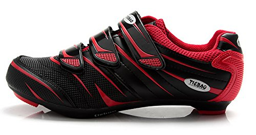 Tiebao Road Cycling Shoes Lock Pedal Bike Shoes Cleated Bicycle Ciclismo Shoes Red 42