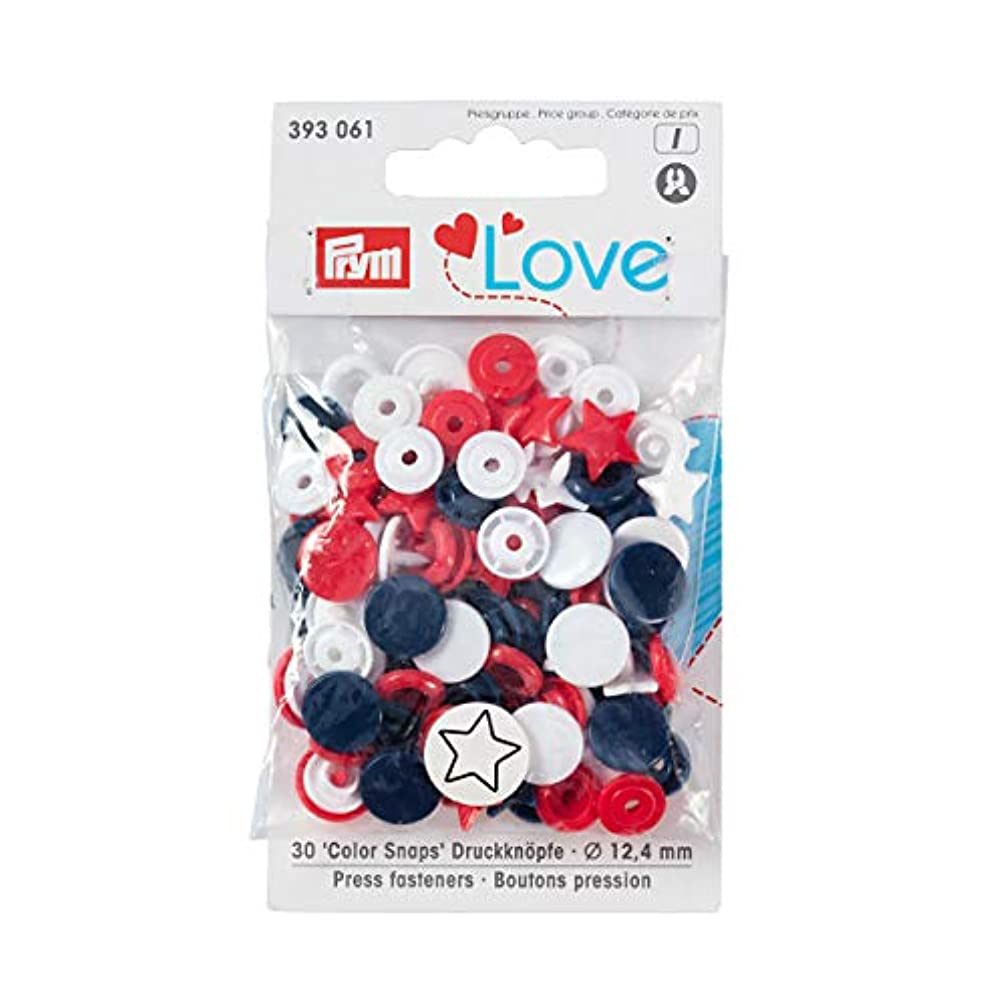 PrymLove Star Shape Non-Sew ColorSnaps 12.4mm Snap Fasteners by Prym Love-Assorted Pack of Red, White and Navy (30pc), 12 x 7 x 2 cm