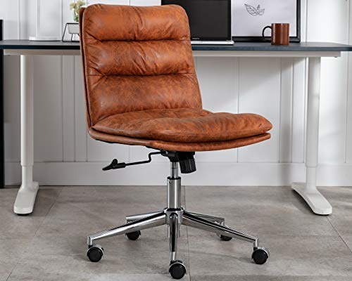 CIMOTA Armless Office Chair Mid-Back Home Office Task Chair Modern Ergonomic Computer Desk Chair Swivel Rolling Chair for Office Study Room, Adjustable, Vintage Brown